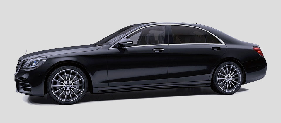 Limousine service airport Gdansk Poland with a professional chauffeur Mercedes S Class w222 Long